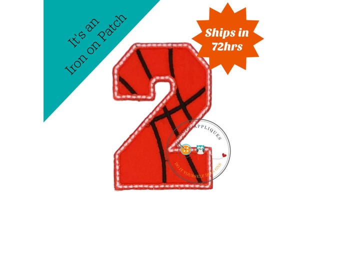 Basketball number two iron on, machine embroidered sport number 2, basketball jersey number 2 iron on applique, ready to ship