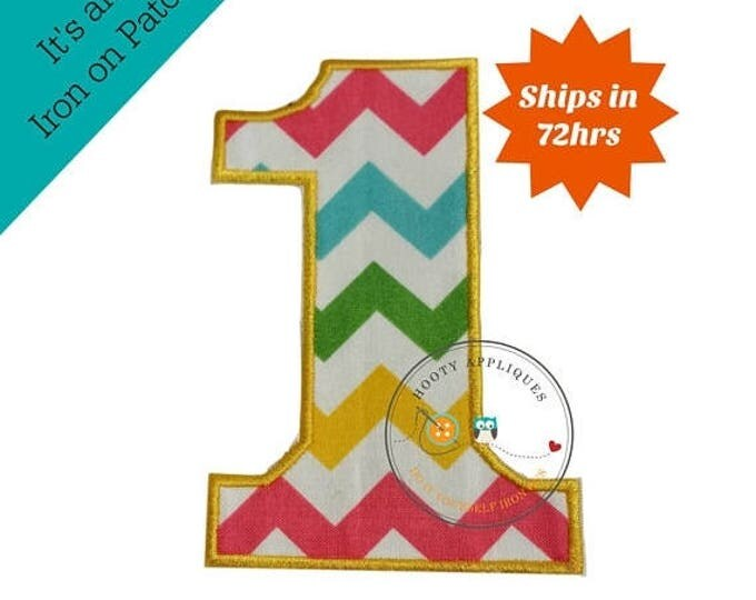 ON SALE NOW Large teal, yellow, green and pink chevron  number 1- iron embroidered fabric applique patch embellishment- ready to ship
