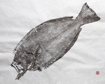 California HALIBUT - Original Gyotaku - traditional Japanese fish art (1)