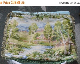 ON SALE Barkcloth Pillow Fringed Country Scene Rustic Farmhouse Cottage Chic