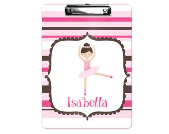 Personalized Kids Clipboard - Ballerina Pink Brown Horizontal Stripes, Single Sided or Double Sided Custom Clipboard Back to School