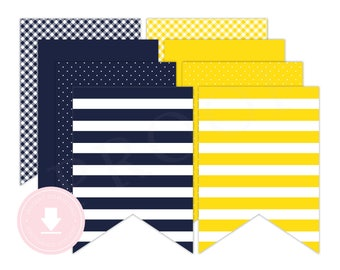 INSTANT DOWNLOAD Yellow and Navy Banner (Yellow Nautical Party, Nautical Birthday Banner, Anchor Banner, Boys Nautical Party)