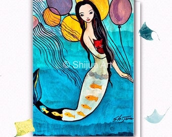 Mermaid Art: Mermaid with colored balloons-blank art card by Shijun, Fantasy Wall Art-mermaid with red cat, red cat