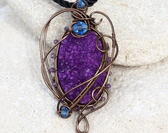 Purple Druzy Agate wire wrapped pendant with Amethyst beads