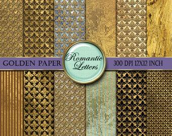Digital paper gold digital scrapbook paper pack digital texture gold background paper digital gold foil paper digital background 12x12 paper