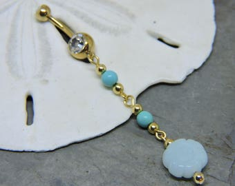 Gold Belly Button Ring - Belly Button Jewelry - Navel Piercing Belly Ring - Amazonite Flower and Magnesite Belly Rings - Belly Jewelry