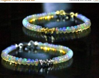 20% off. Ethiopian Opal Bracelet, October Birthstone. Stacking Bracelet. Sterling silver or gold Filled
