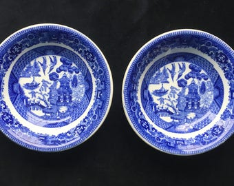 """Buffalo Diner Hotel Restaurant China 4-3/4"""" Blue Willow Berry or Fruit Bowls (Set of Two) in Very Good Used Condition"""
