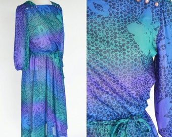 SUMMER SALE Vintage 80's Purple Secretary Dress - Funky Retro 1980's Dress- Semi sheer shirt waist Dress - Casual Dress - Abstract Neon Prin