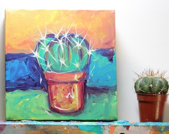 Original Succulent Painting on Deep Edge Canvas