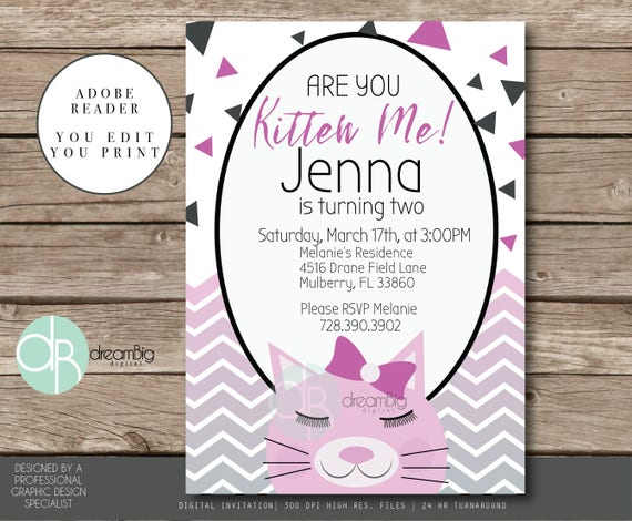Little kitty birthday invitation kitten party are you kitten me il570xn stopboris Images