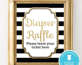 Black and Gold Diaper Raffle Sign - Black and Gold Baby Shower - Gold Glitter Baby Shower - Gender Neutral Baby Shower - Instant Download