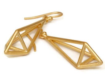 Long Geometric Gold  Earrings Triangle, Pryamid Earring Drops Himmeli Earrings   Artisan Handmade  by Sheri Beryl