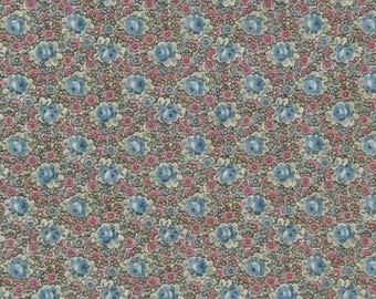 Blue Floral Cotton Fabric / Floral Cotton Fabric / Cotton Fabric / Vintage Cotton Fabric / Blue and Pink Floral Fabric / Quilt Fabric