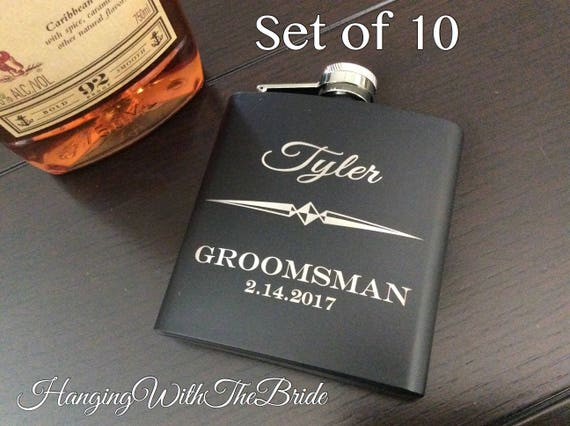 Set of 10 Personalized Flask Groomsmen Gift Box  Groomsmen Flask Set - Gifts for Groomsmen - Monogram Flask - Custom Flask Set for Groomsmen