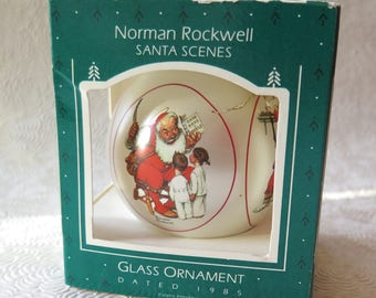Norman Rockwell Santa Scenes Hallmark Ornament 1985 Glass Ornament Original Box Vintage Santa Claus