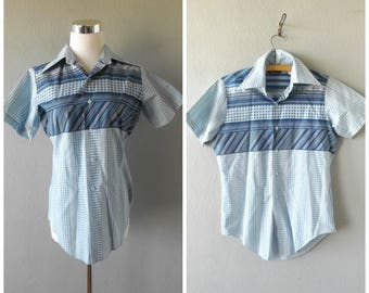 atomic blue 50s oxford shirt - vintage campus short sleeve button down - men's size xs / extra small - rockabilly mid century top - 1950s