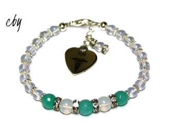 White Opalite Gemstone and Jade Gemstone with RN charm beaded Bracelet Nurse Bracelet Sterling Silver Spacers Crystallized Rondelles