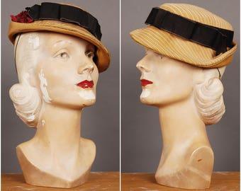 30s honey brown striped tilted HAT original vintage 1930 size 22