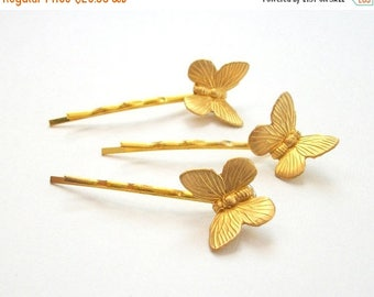 SUMMER SALE Gold Toned Bobby Pin Set Butterfly Hair Pin Set of Three Gold Toned Bobby Pins Simple Natural Vintage Style Woodland
