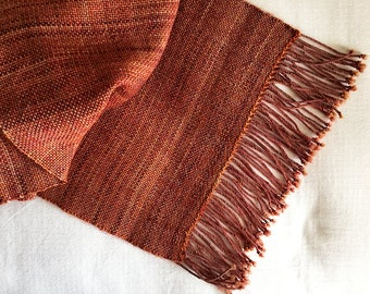 Plaiding Scarf - Handwoven - Merino, Mohair, Nylon - Embers