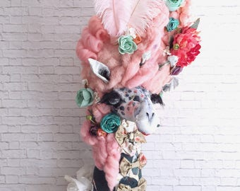Mademoiselle Cupcake Faux Taxidermy Giraffe |faux taxidermy |girls art decor| childrens art | pompadour | wall art | art taxidermy | giraffe