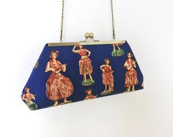 Hula Girl Clutch, Hawaiian Print Clutch, Framed Clutch, Kisslock, Purse, Remnant Fabric, Discarded Fabric
