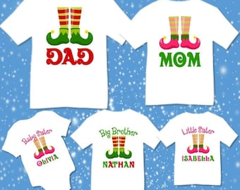 SALE Personalized Christmas Family Matching Elf Elves T-shirts Shirt Baby Bodysuit Mom Dad Baby Kids Boy Girl Child Sibling Reunion Cousins