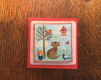 Fabric Cats on Red Card's - see variations