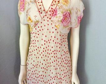 Vintage J. jill Sheer Floral Dress with Slip Size 10