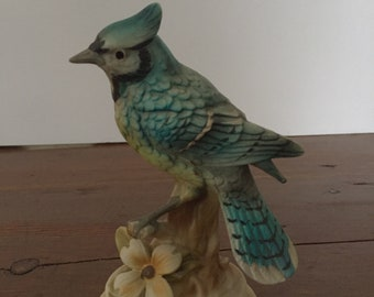 Blue Jay Bird Figurine Statue