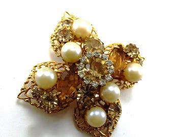 Maltese Cross Brooch Gold Tone Filigree Rhinestones Glass Pearls Very Pretty Pin Well Made High Quality Vintage Jewelry