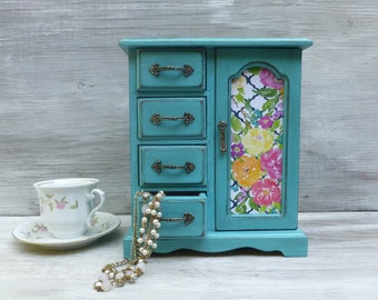 Reserved for Laura ~Turquoise Distressed Jewelry Box