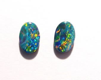 Beautiful pair of Australian Opal Doublets  Gem Grade  6x4mm  (3036)