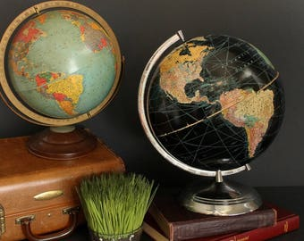 """Vintage World Globe Black Ocean 12"""" 1950s by Weber Costello Co. With Chrome Stand"""