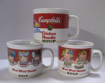 Vintage Campbell Soup Kids Soup Mug, Collectable Campbell Memorabilia, Chicken Noodle Mugs