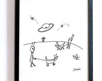 Moon Walk With Dogs -- Downloadable Print, Cartoon, Alien Art, Black and White Print, Office Art, Funny Illustration, Moon and Stars