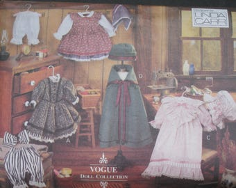 """Vogue 8337 Early American, 18"""" doll dresses, bloomers, scarf, hair bow, nightgown and cap, cape and hat, Linda Carr, 1992, uncut, complete"""