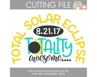 Total Solar Eclipse cut file for Cricut, Silhouette, Instant Download (eps, svg, gsd, dxf, ai, jpg, and png)