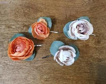 Flower Bobby Pin, Silk flower  Bobby pins, Wedding Hair Accessories, Hair Pins,  orange hairpin, hair pins, ready to ship
