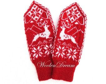 Merino wool mittens,Scandinavian arm warmers,wool mittens,snowflake womens mittens,warm winter glove,winter accessory,Christmas gift for Her