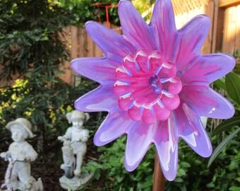Glass Plate Flower Garden Art Hand Painted Lilac & Hot Pink - Suncatcher - Garden Sculpture - Garden Decoration - Garden Gift