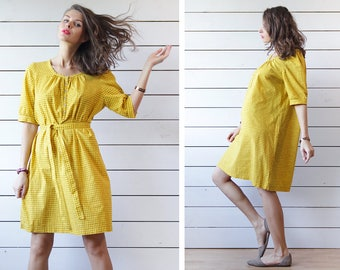MARIMEKKO mustard yellow tiny cross print thin cotton summer tunic midi dress L XL