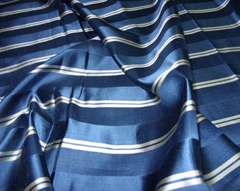 """No. 400 Striped Silk Brocade in Blues With Silver Accents; 5 pieces;; Each 3 Yards x 30"""" Sold by the Piece"""