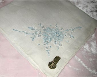 No. 200 ANTIQUE Swiss Cotton Hand Embroidered Handkerchief, Blue Embroidery No. 48