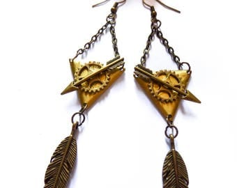 Bronze geometric earrings arrow Katniss Everdeen Hunger Games
