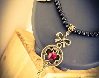 """Bronze necklace beads feather steampunk Fantasy """"Key of Heart"""""""