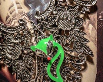 Silver bib necklace lace gypsy Bohemian ♠Fox♠ neon green color