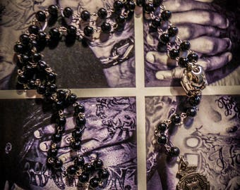 """Chaplet Rosary silver Chrome Hearts """"Juicy Couture"""" Baby Angel Skull punk black skull beads"""
