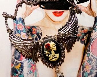 Bib necklace cameo calavera mexican gypsy Bohemian ♠Angels & Skulls♠